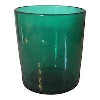 Antique 19th century Anglo Irish Blown Green Glass Tumbler