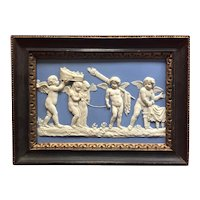 Antique 18th century Wedgwood Solid Light Blue Jasperware Plaque Depicting the Marriage of Cupid and Psyche