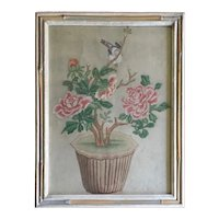 Antique 19th century Chinese Painting of Peonies in a Flower Pot with a Bird