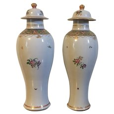 Unusually Tall Pair 18th century Chinese Export Porcelain Baluster Shape Jar Vases in Famille Rose Palette circa 1800 for the American Federal Market