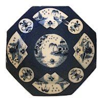 Antique 18th century George III English Bow Porcelain Octagonal Plate in the Chinese Taste with Powder Blue Glaze 1760 - 1770