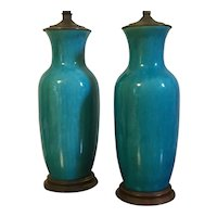 Pair Antique 19th century Chinese Monochrome Turquoise Crackle Glaze Porcelain Vases Mounted as Lamps
