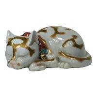 Early 20th century Japanese Kutani Porcelain Figure of a Sleeping Cat