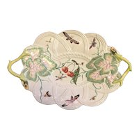 Antique 18th century Chelsea Derby Porcelain Basket Platter Decorated with Butterflies, Insects and Cherries