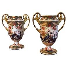 Pair Antique Early 19th century Spode 967 Imari Porcelain Vases or Urns circa 1810