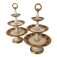 Pair Antique Early 19th century Paris Porcelain 3 Tier Dessert Stands or Tazzas in the Vintage Pattern - Rufus King Service by Pochet-Deroche 1825
