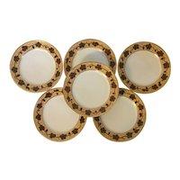Set 6 Antique Early 19th century Paris Porcelain Plates in the Vintage Pattern - Rufus King Service by Pochet-Deroche 1825