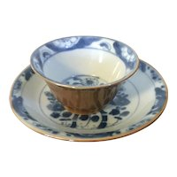 Antique 18th century Chinese Batavian Kangxi Porcelain Wine Cup or Tea Bowl & Saucer - Blue & White with Brown