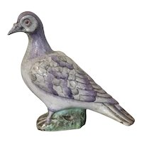 Antique 18th / 19th century Chinese Export Porcelain Bird Figure of a Pigeon or Dove in Famille Rose Palette