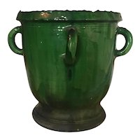 Large Antique 19th century French Castelnaudary Anduze Green Glazed Terracotta Garden Urn Flower Pot Planter from Provence South of France