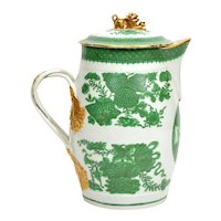 Large Antique Early 19th century Chinese Export Porcelain Cider Jug in Green Fitzhugh
