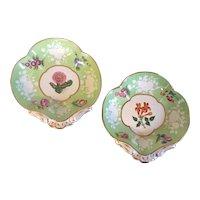 Pair Antique Early 19th century English Regency Coalport Porcelain Botanical Shell Shape Dessert Dishes