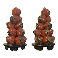 Pair Antique 19th century Chinese Export Porcelain Altar or Temple Fruit Pyramids of Stacked Persimmons