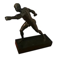 Very Large Antique 19th century French Grand Tour Bronze Figure of an Athlete After the Antique Mounted on Original Black Slate Base