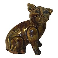 Antique 19th century Chinese Treacle or Tea Dust Glaze Porcelain Figure of a Tiger Cat