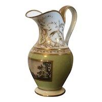 Antique 19th c. Old Paris Porcelain Cream Jug or Milk Pitcher Decorated with Hand Painted Landscape en Grisaille 1800