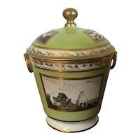 Antique 19th c. Old Paris Porcelain Sucrier Sugar Bowl Urn Decorated with Hand Painted Landscape en Grisaille 1800