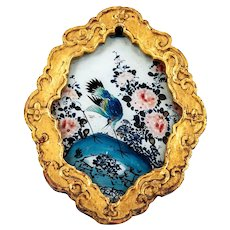 Antique 19th century Chinese Export Reverse Painting on Glass of an Exotic Bird with Peonies in Carved Giltwood & Black Lacquer Frame