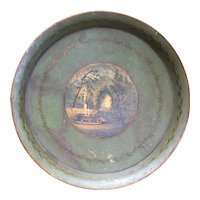 Antique 19th century Round French Tole Tray with Neoclassical Scene and Pale Green Ground