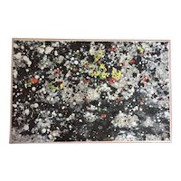 Mid-Century Modern Abstract Oil Painting by Anton Lutjerink-Dartel (b. 1928) in Original Acrylic Box Frame 1967