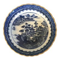 Antique 18th century Chinese Export Porcelain Blue & White Saucer Bowl Decorated with Harbor Landscape Scene