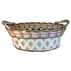 Antique 19th century Creamware Oval Reticulated Chestnut Basket