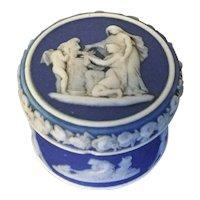 Antique 19th century Wedgwood Neoclassical Dark Blue Jasperware Rouge Pot, Makeup Mortar, Pill or Patch Box