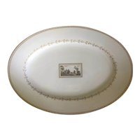 Large Richard Ginori Porcelain Oval Serving Platter in the Pittoria or Fiesole Pattern with Sepia Landscape Italy