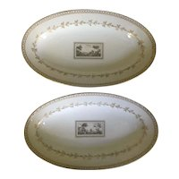 Pair Richard Ginori Porcelain Small Oval Serving Platters in the Pittoria or Fiesole Pattern with Sepia Landscape Italy