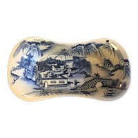 Chinese Export Blue & White Porcelain Bread Serving Tray