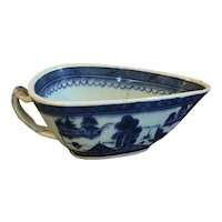 Antique Early 19th century Chinese Export Canton Porcelain Sauce or Gravy Boat Decorated with Blue & White Harbor Scene