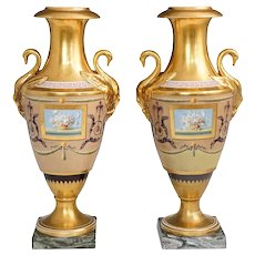 Antique Early 19th century Paris Porcelain Neoclassical Urns or Vases with Swan Handles Signed Halley