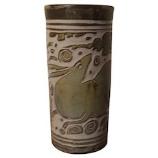 Vermont Art Pottery Cylinder Vase by Miranda Thomas with Incised Decoration of Rabbits and Clouds