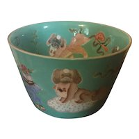 Antique 19th century Chinese Cachepot Bowl Decorated with Pekingese Dogs, Precious Objects & Fruit on Turquoise Ground