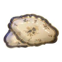 Pair Antique 18th century Worcester Caughley Porcelain Quatrefoil Serving Dishes