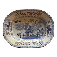 Antique Early 19th century Mason's Patent Ironstone China Platter Chinese Gate & Peony in Blue & White