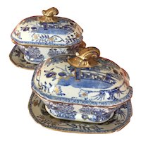 Pair Antique Early 19th century Mason's Patent Ironstone China Sauce Tureens & Platters - Chinese Gate & Peony in Blue & White