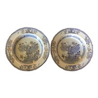 Pair Antique Early 19th century Mason's Patent Ironstone China Soup Bowl Plates Chinese Gate & Peony in Blue & White