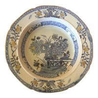 Antique Early 19th century Mason's Patent Ironstone China Soup Bowl Plate Chinese Gate & Peony in Blue & White