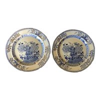 """Pair Antique Early 19th century Mason's Patent Ironstone China 8"""" Dessert or Cake Plates Chinese Gate & Peony in Blue & White"""