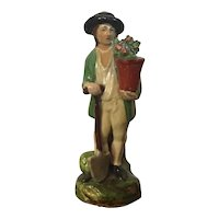 Antique Early 19th century English Georgian Staffordshire Pearlware Figure of a Gardener