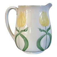 Antique Early 20th century English Aesthetic Movement Art Nouveau Porcelain Pitcher Decorated with Tulips