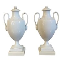 Pair Antique 19th century French White Porcelain Urns or Vases Mounted as Lamps in the Directoire Manner