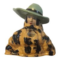 Antique 1920 Henri Delcourt Boulogne-sur-Mer French Art Deco Porcelain Figural Inkwell or Pen Stand for the Desk