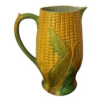Very Large Antique 19th century French Majolica Corn Pitcher