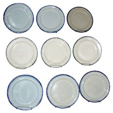 Nine Antique Early 19th century Round Blue Shell Edge or Feather Edge Leeds Creamware Plates 1800