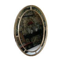 Antique Early 19th century Georgian Adam Carved and Gilt Wood Oval Mirror with Divided Panels c. 1800