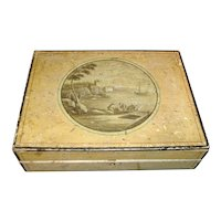 Antique English Regency Paint Decorated Jewel or Sewing Box 1820
