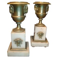 Antique Pair Early 19th century English Regency Gilt Bronze & White Marble Garniture Urns in the Empire Taste - Ormolu