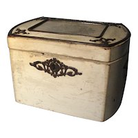 Antique Early 19th century English Regency White Ebonized Steel Mounted Tea Caddy with Petit Point